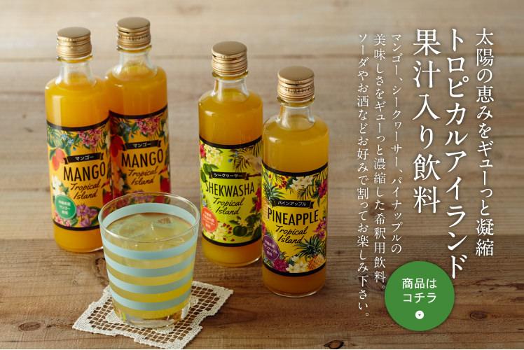 太陽の恵みをギューっと濃縮 トロピカルアイランド 果汁入り飲料
